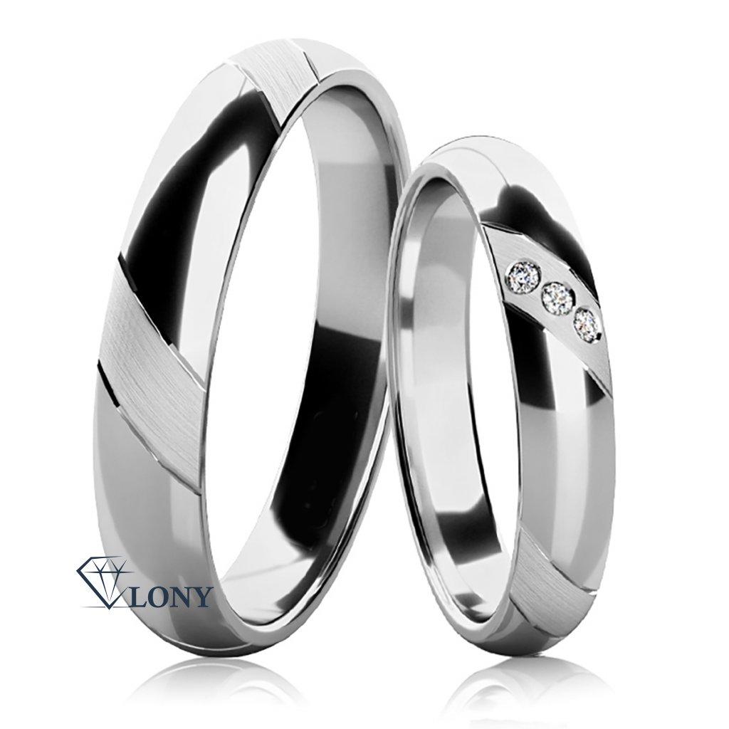 Snubní prsteny Napea bilé zlato s diamany