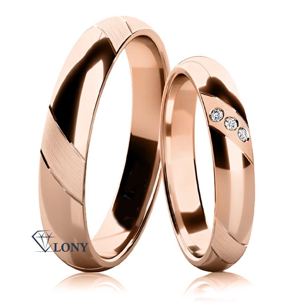 Snubní prsteny Napea růžové zlato  s diamany