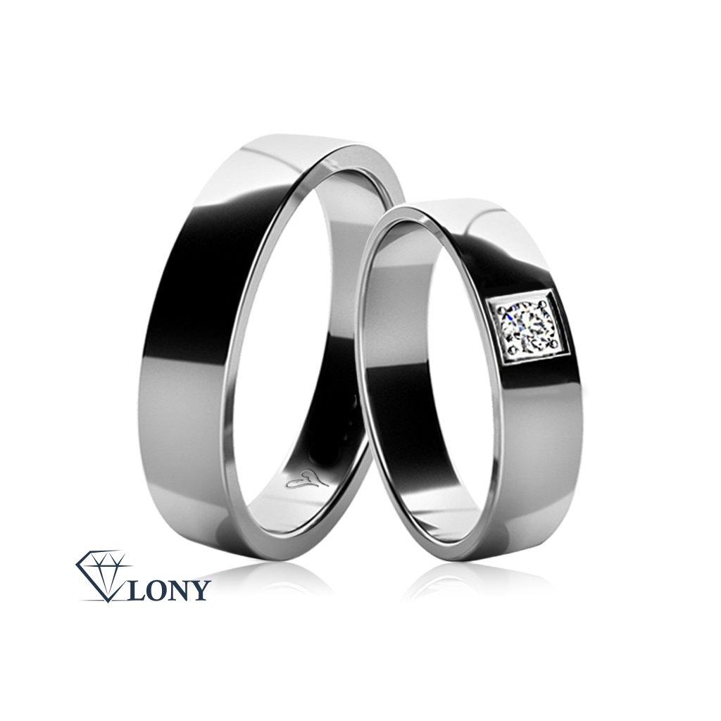 Snubní prsteny Mellona z bílého zlata s diamantem