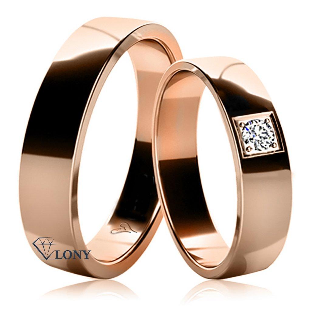 Snubní prsteny Mellona z růžového zlata s diamantem