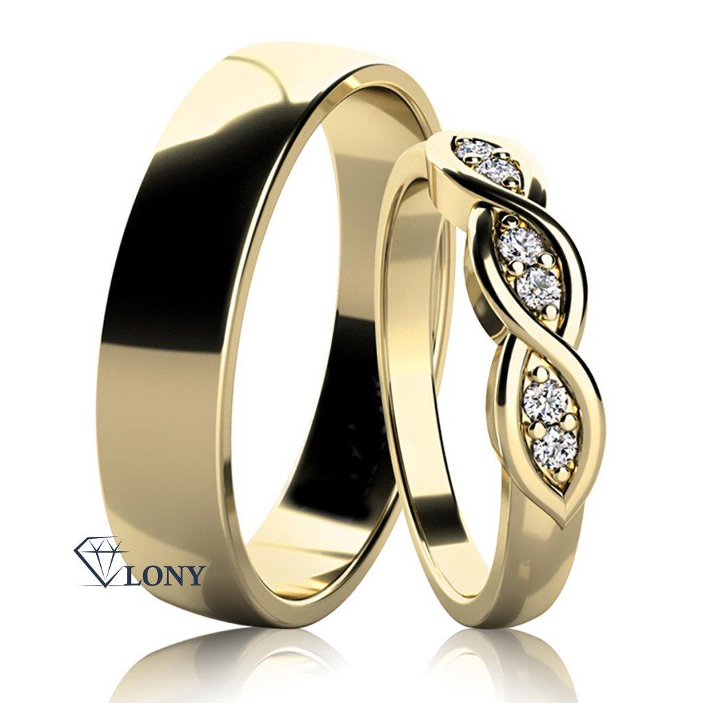 Snubní prsteny Carha, žluté zlato s diamanty