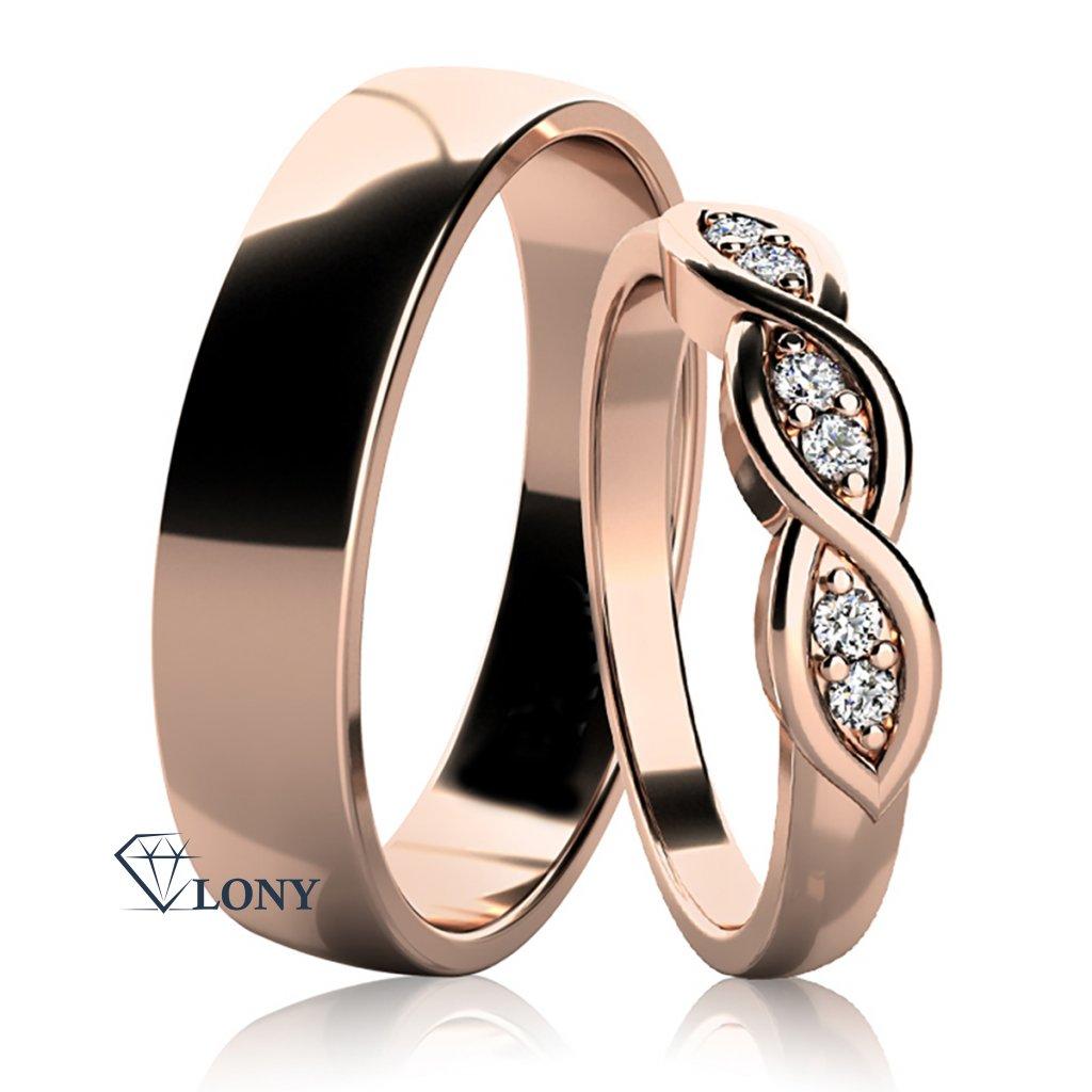 Snubní prsteny Carha, růžové zlato s diamanty