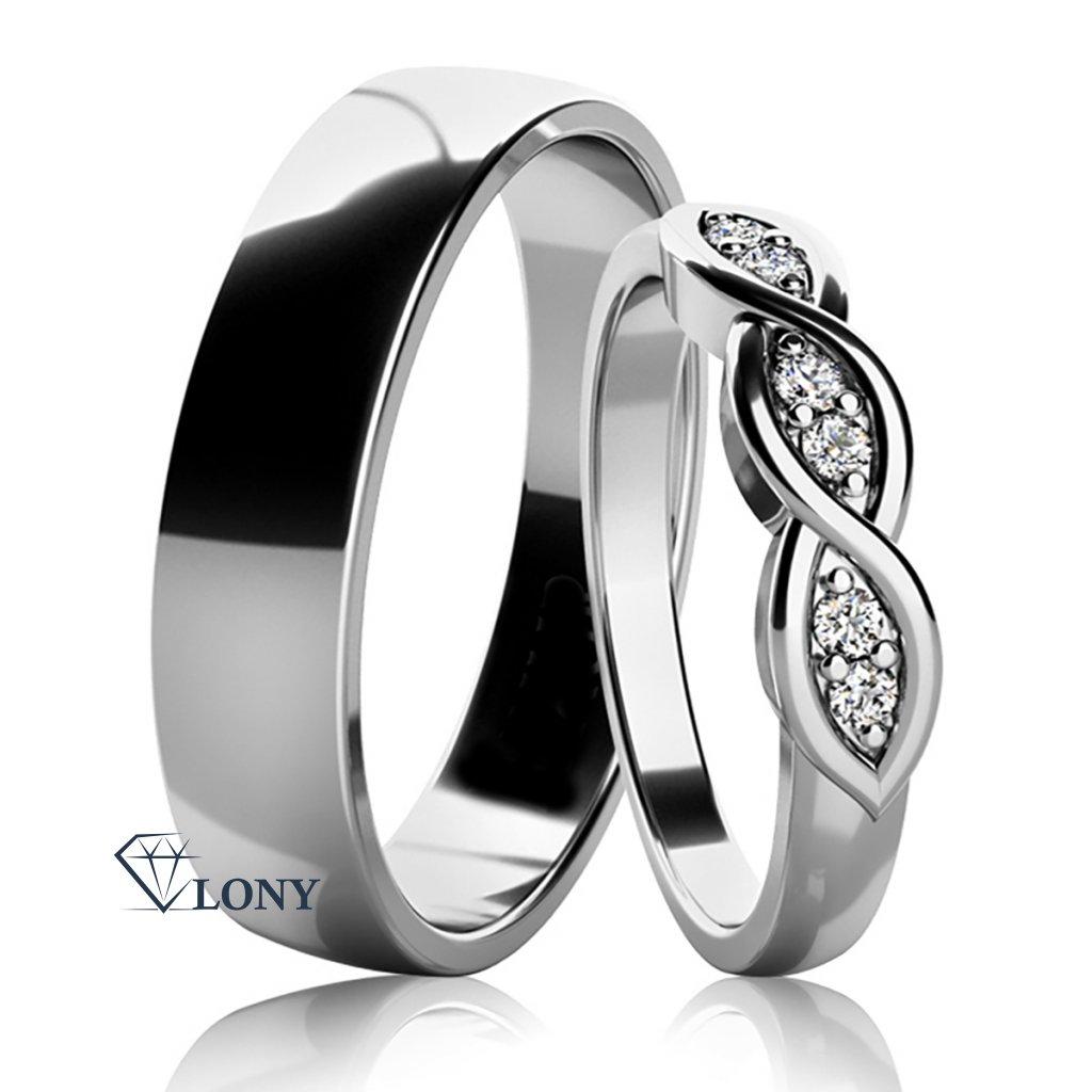 Stříbrné snubní prsteny Carha se zirkony