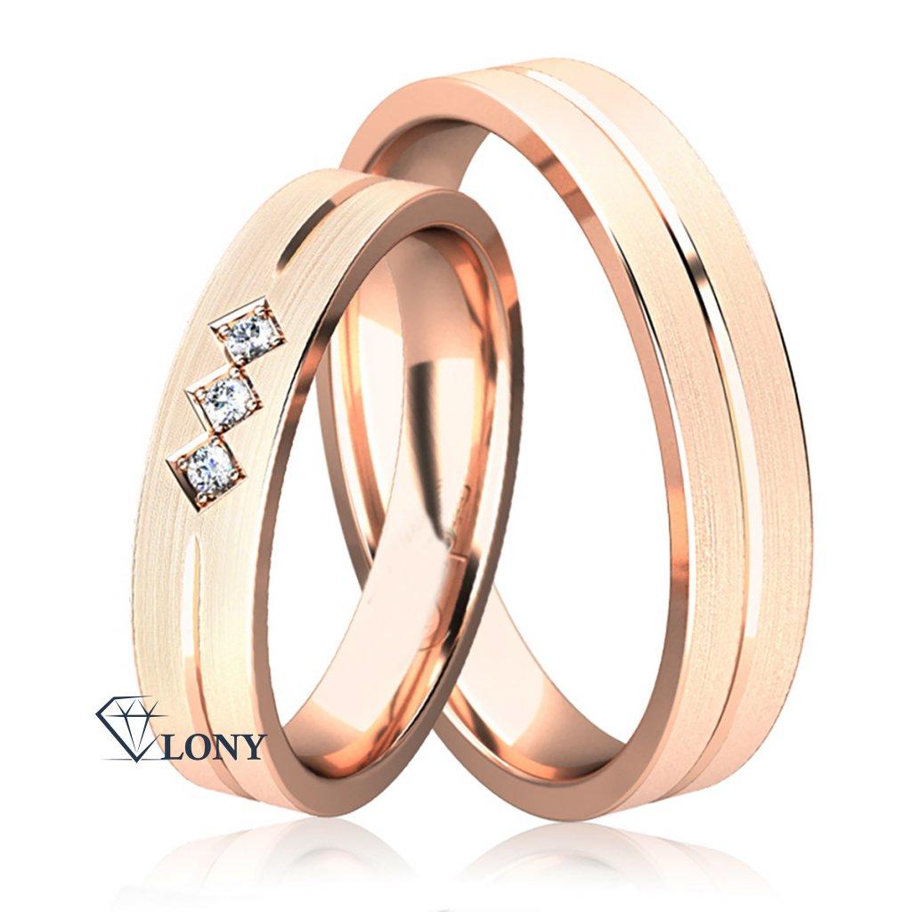 Snubní prsteny Dayton, růžové zlato s diamanty