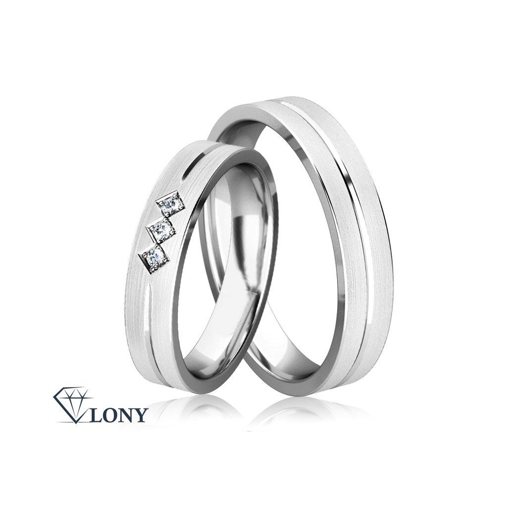 Stříbrné snubní prsteny Dux se zirkony