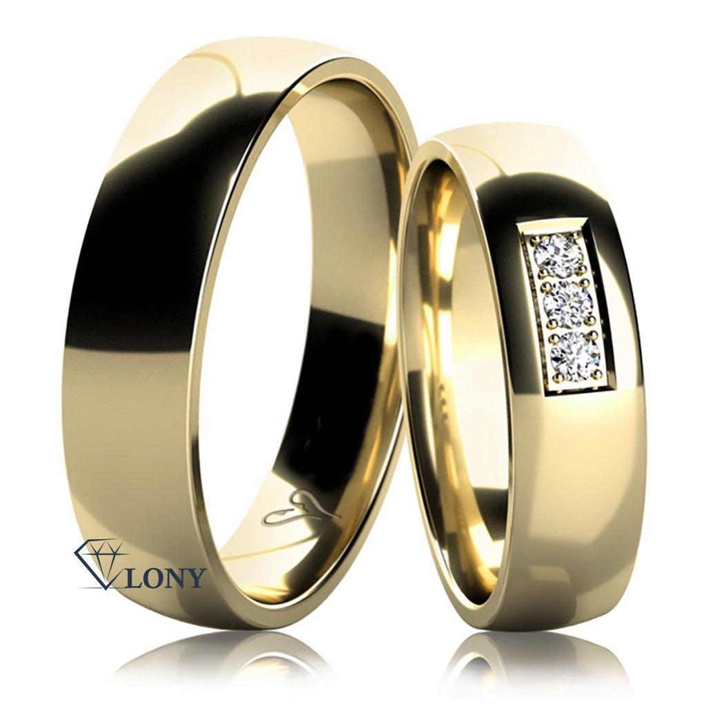 Snubní prsteny Epione, žluté zlato s diamanty