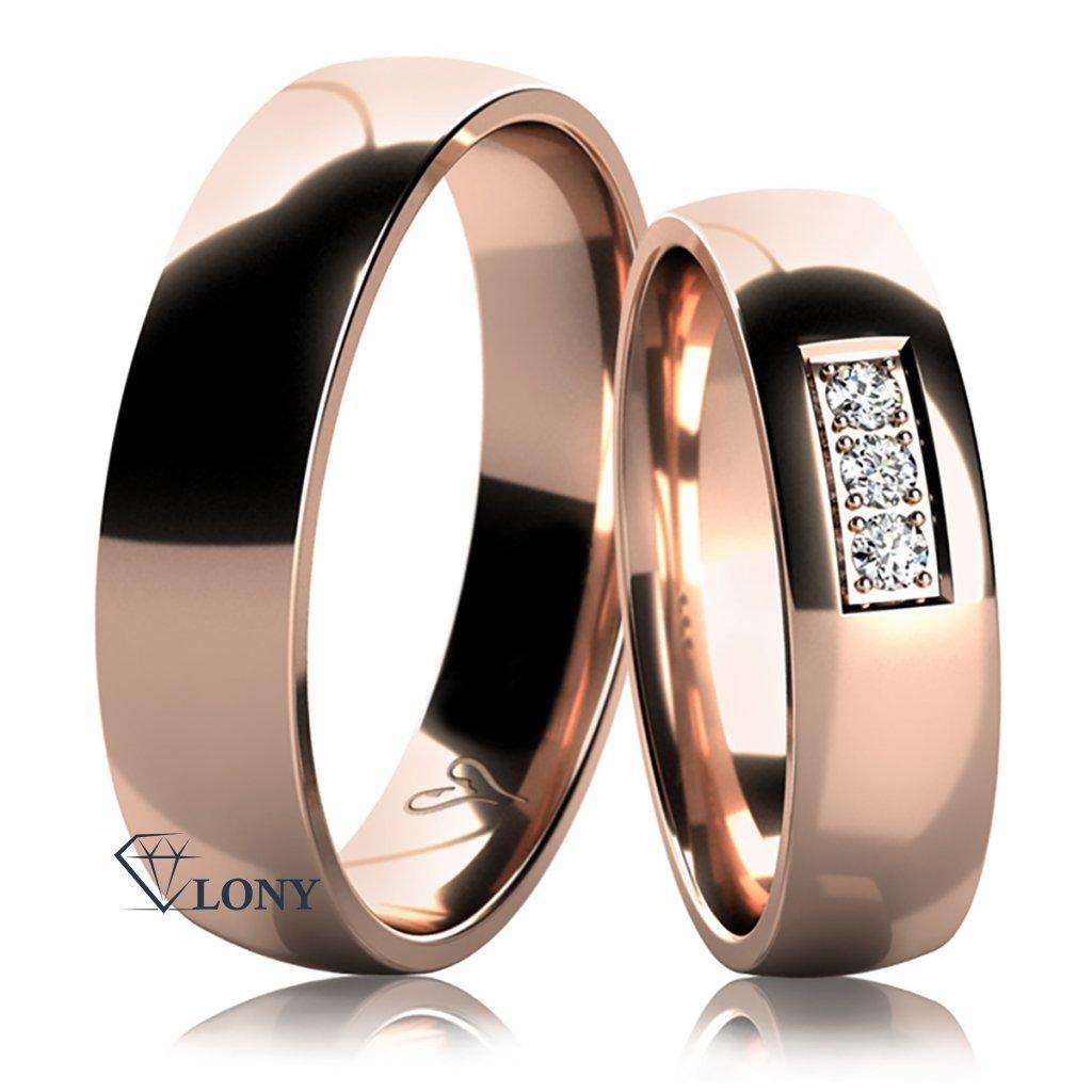 Snubní prsteny Epione, růžové zlato s diamanty