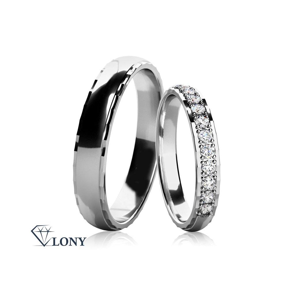 Snubní prsteny Natale, bílé zlato s diamanty