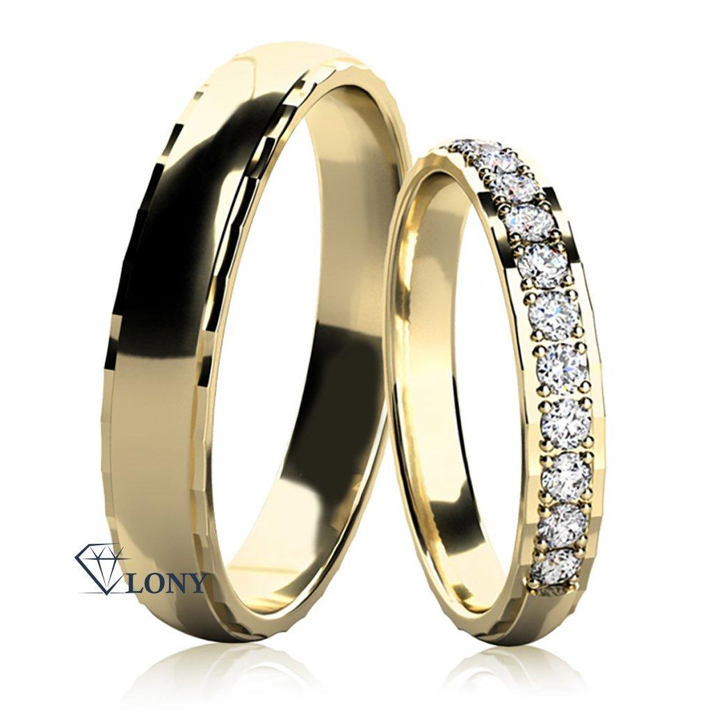 Snubní prsteny Natale, žluté zlato s diamanty