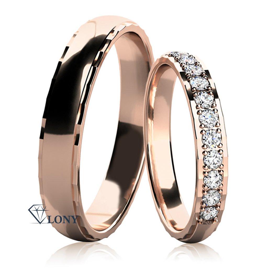 Snubní prsteny Natale, růžové zlato s diamanty