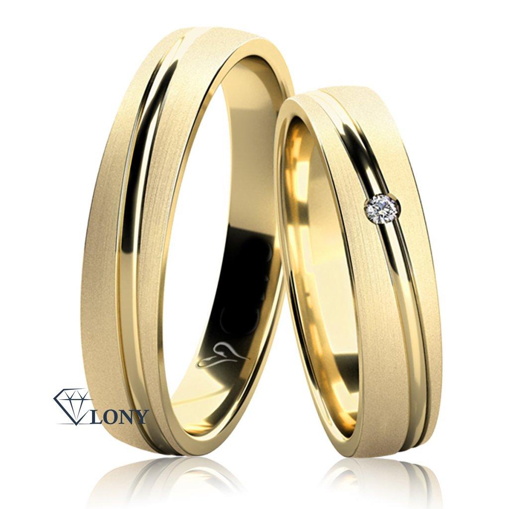 Snubní prsteny Leroy, žluté zlato s diamantem
