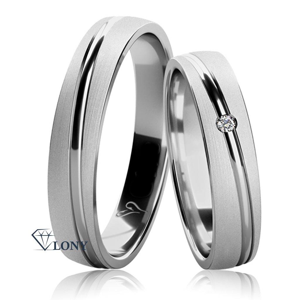 Snubní prsteny Valona, bílé zlato s diamantem