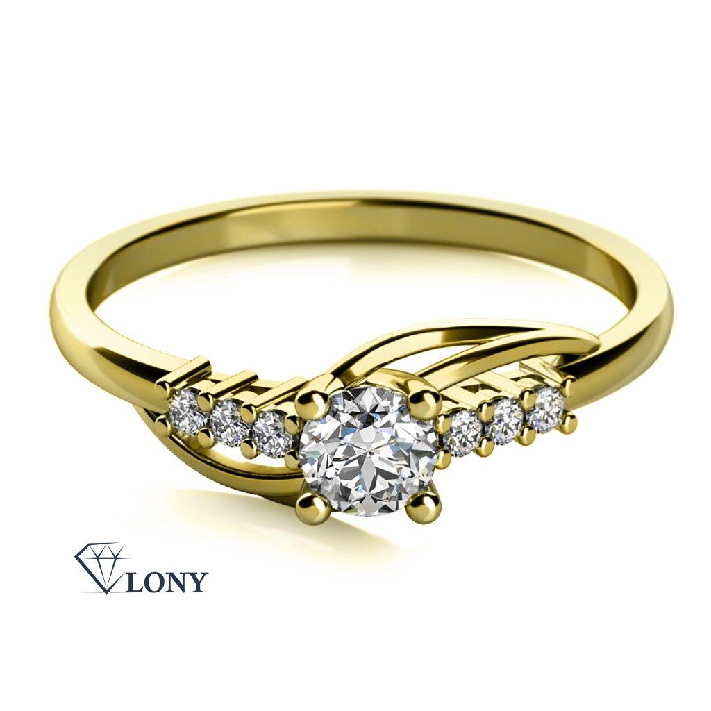 Adéla, prsten ze žlutého zlata se zirkony