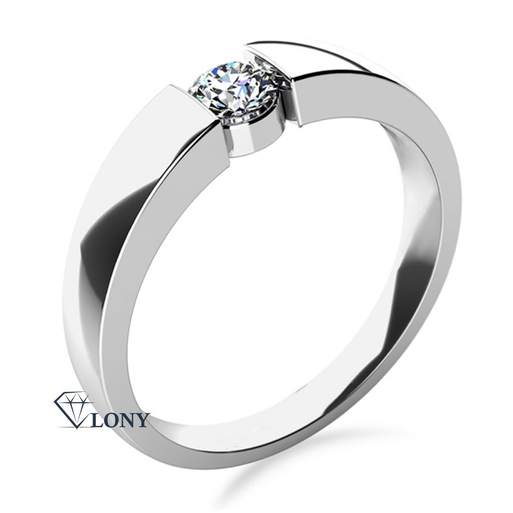 Minimalistický zásnubní prsten Donna v bílém zlatě