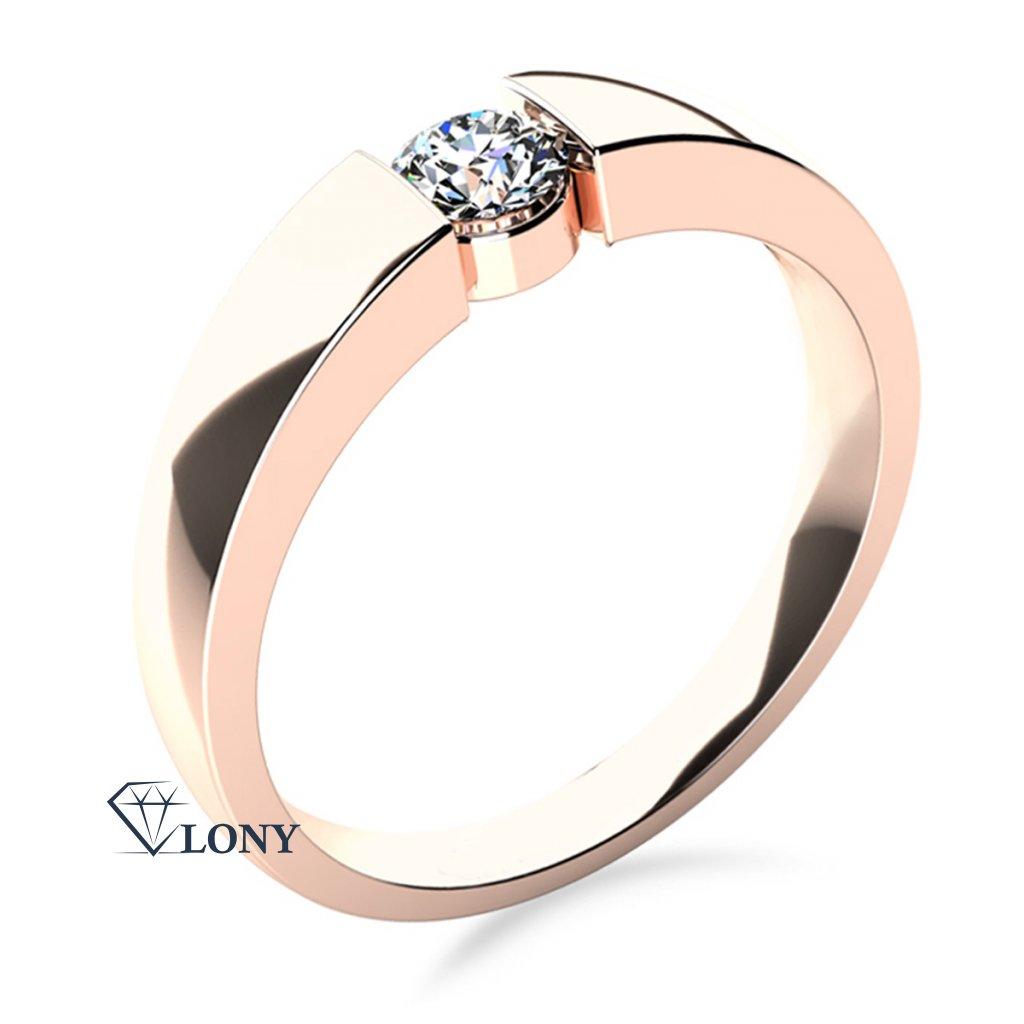 Minimalistický zásnubní prsten Donna v růžovém zlatě