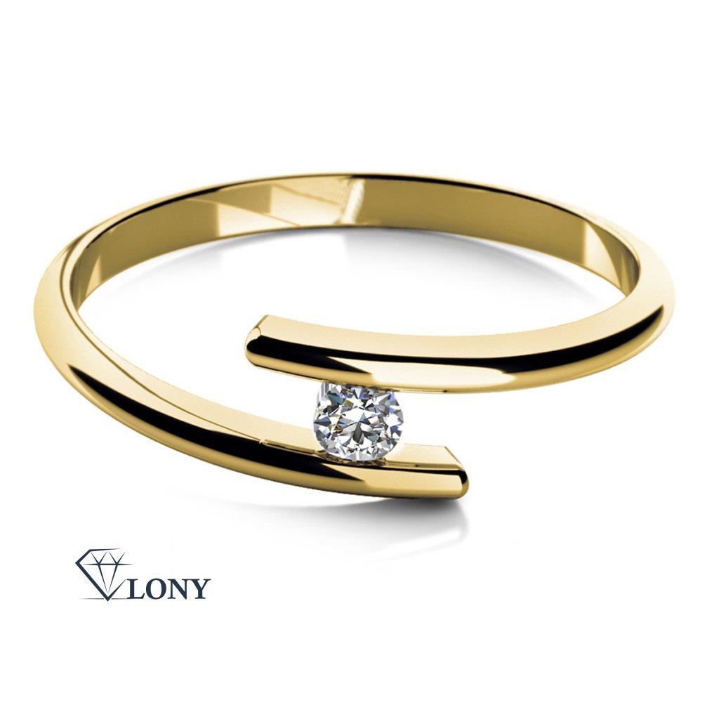 Zásnubní prsten Colet, žluté zlato se zirkonem