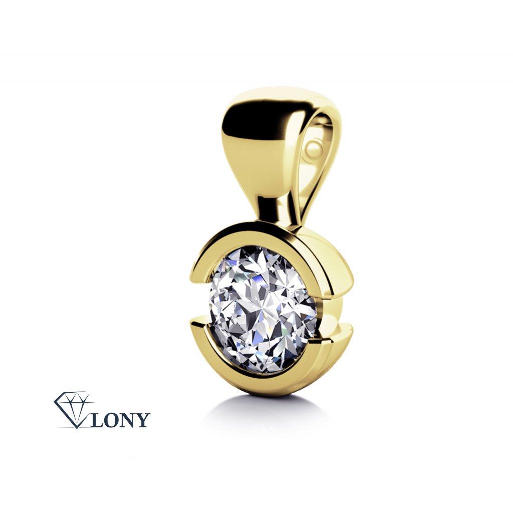 Přívěsek je vyrobený ze žlutého 14ti karátového zlata a zirkonem.