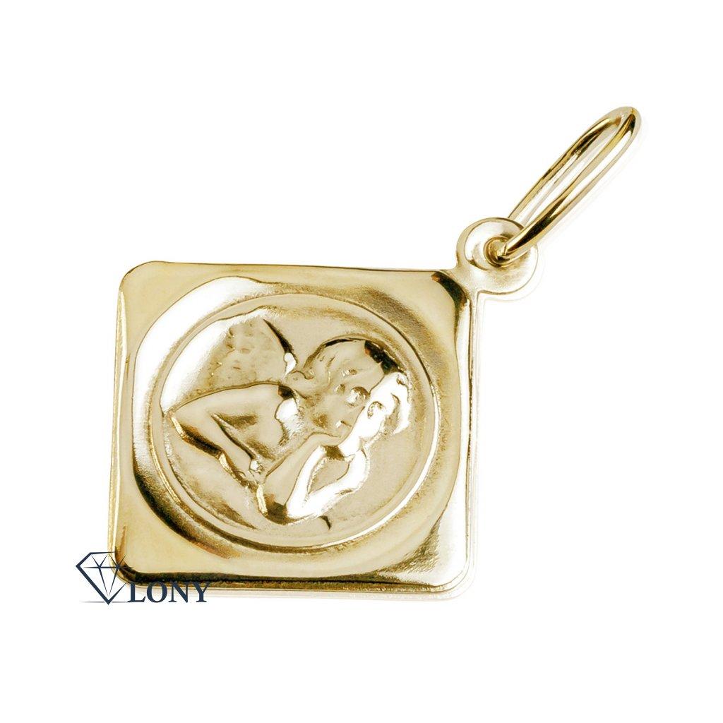 Decentní přívěsek Fleur s motivem anděla, žluté zlato