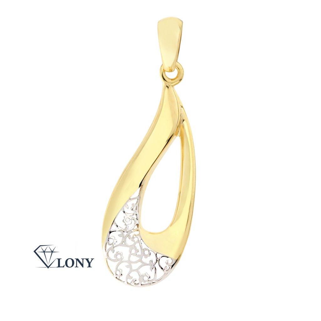 Zajímavý přívěsek Droplet z kombinace bílého a žlutého zlata