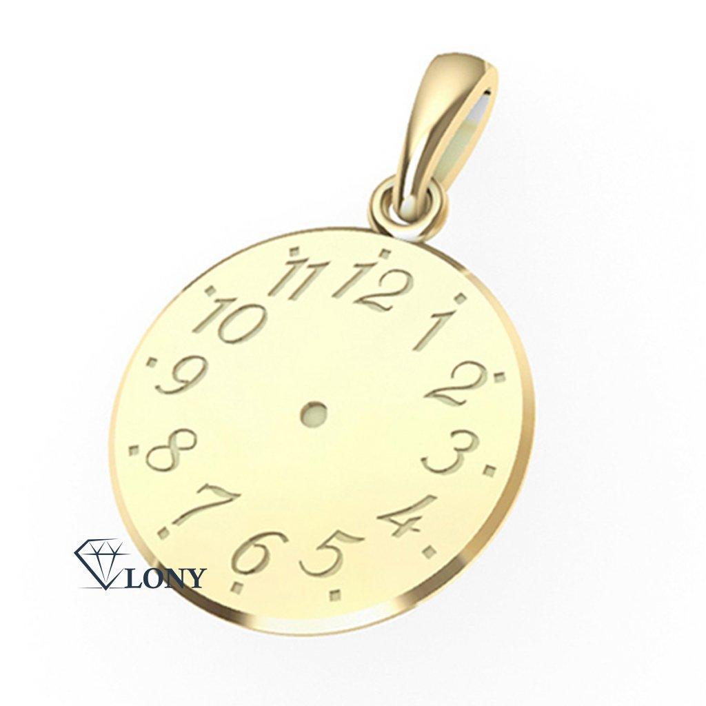 Přívěsek ze žlutého zlata – Křtící hodinky