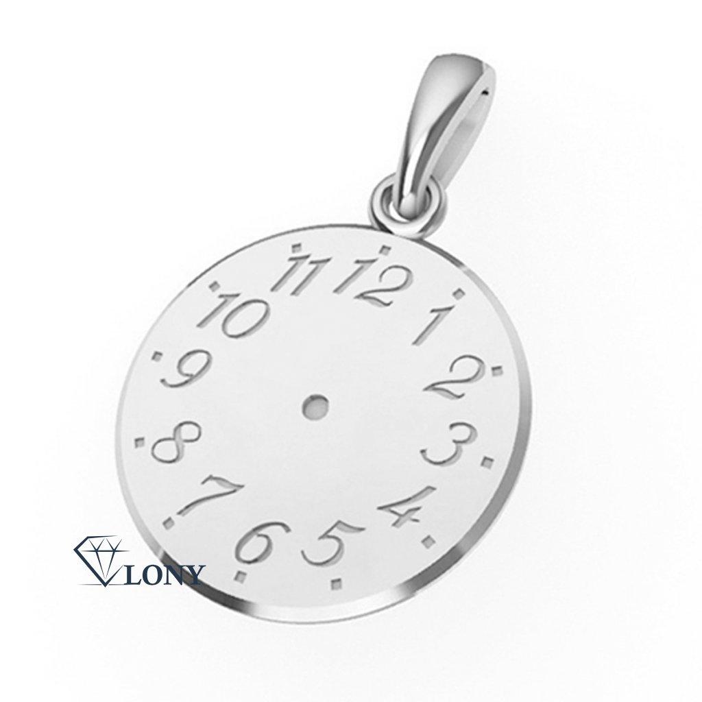 Přívěsek z bílého zlata – Křtící hodinky