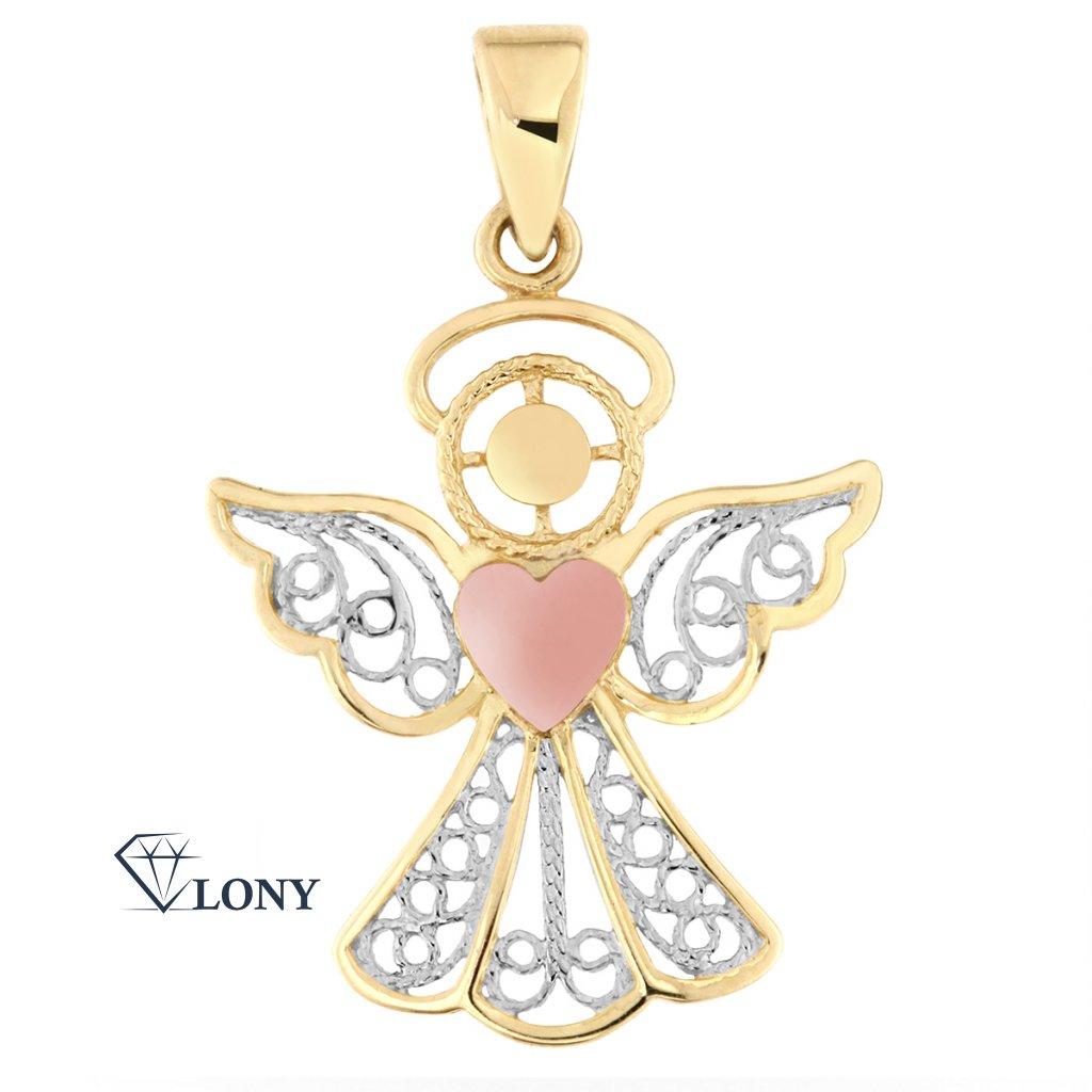Přívěsek Andělíček – kombinované zlato