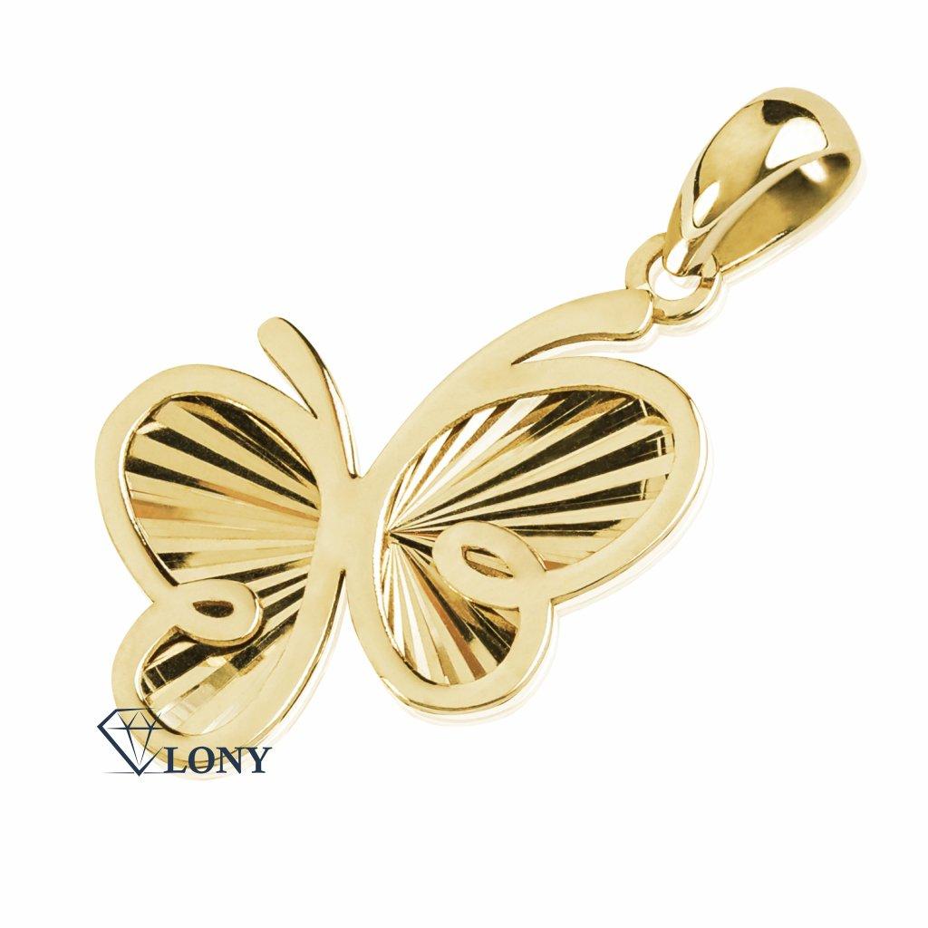 Přívěsek Motýl ve žlutém zlatě