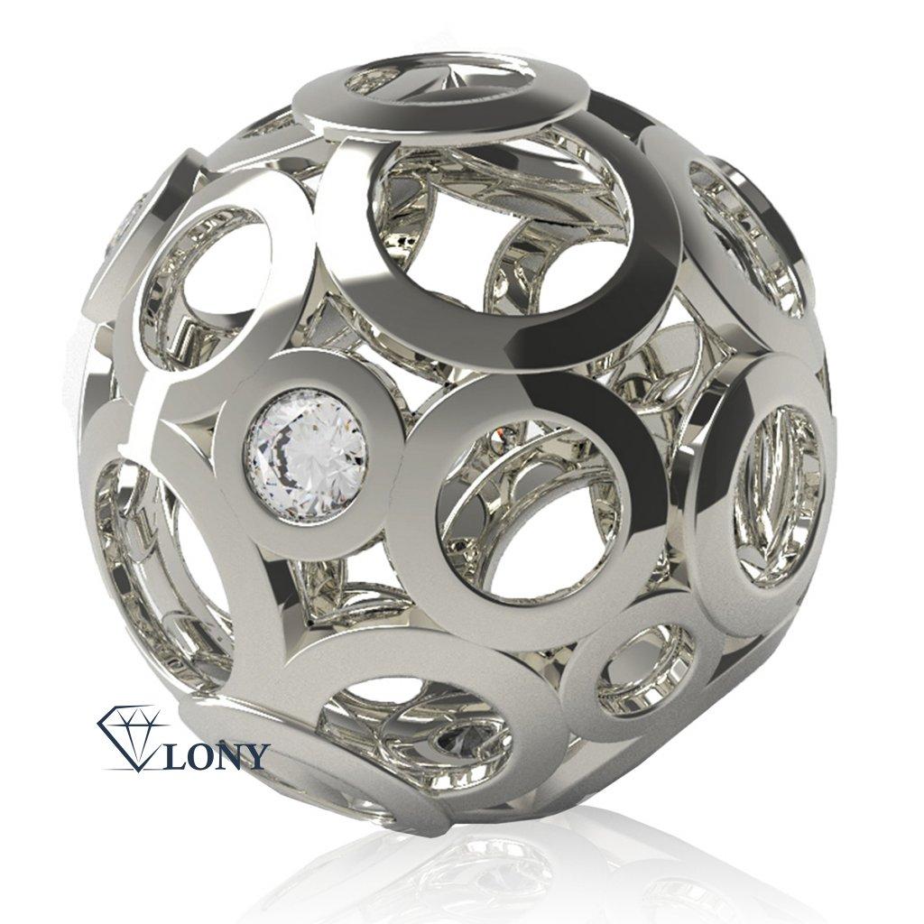 Elegantní přívěsek Ball, bílé zlato se zirkony