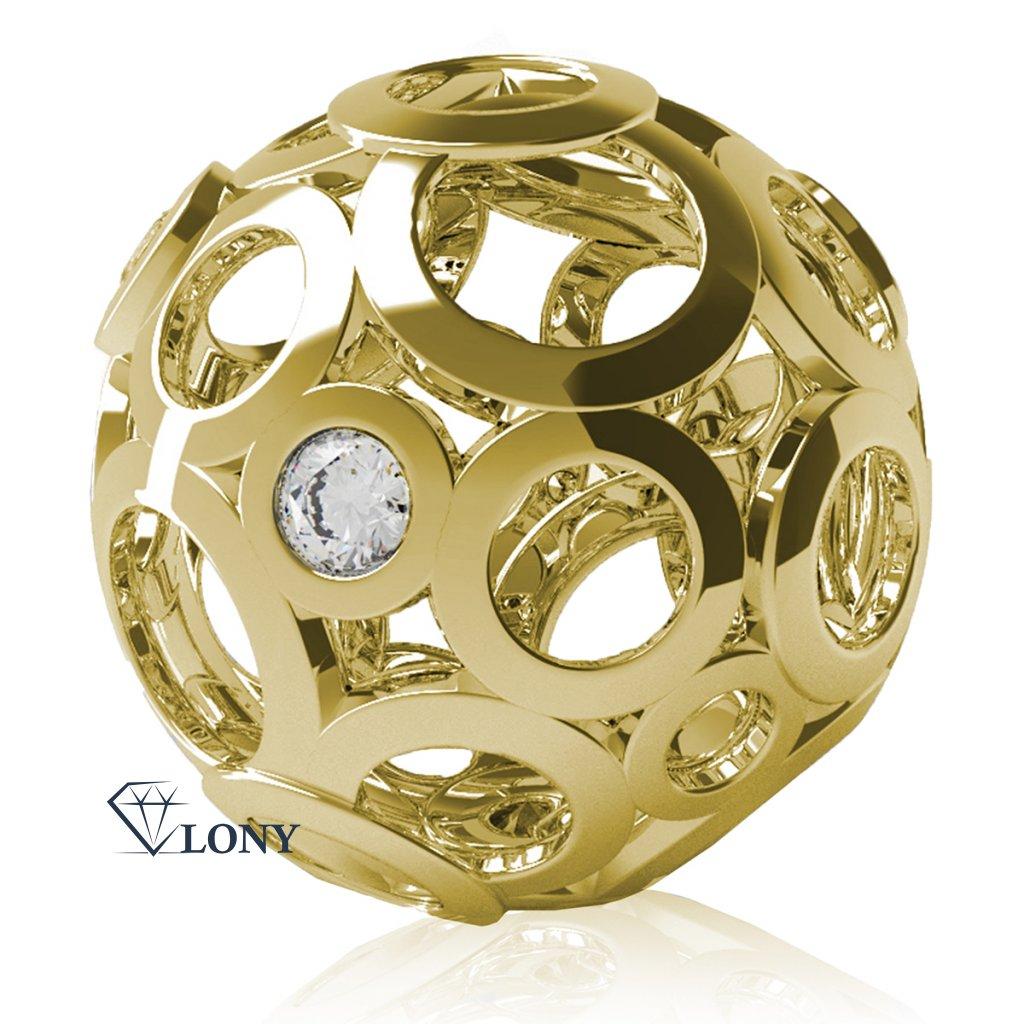 Elegantní přívěsek Ball, žluté zlato se zirkony