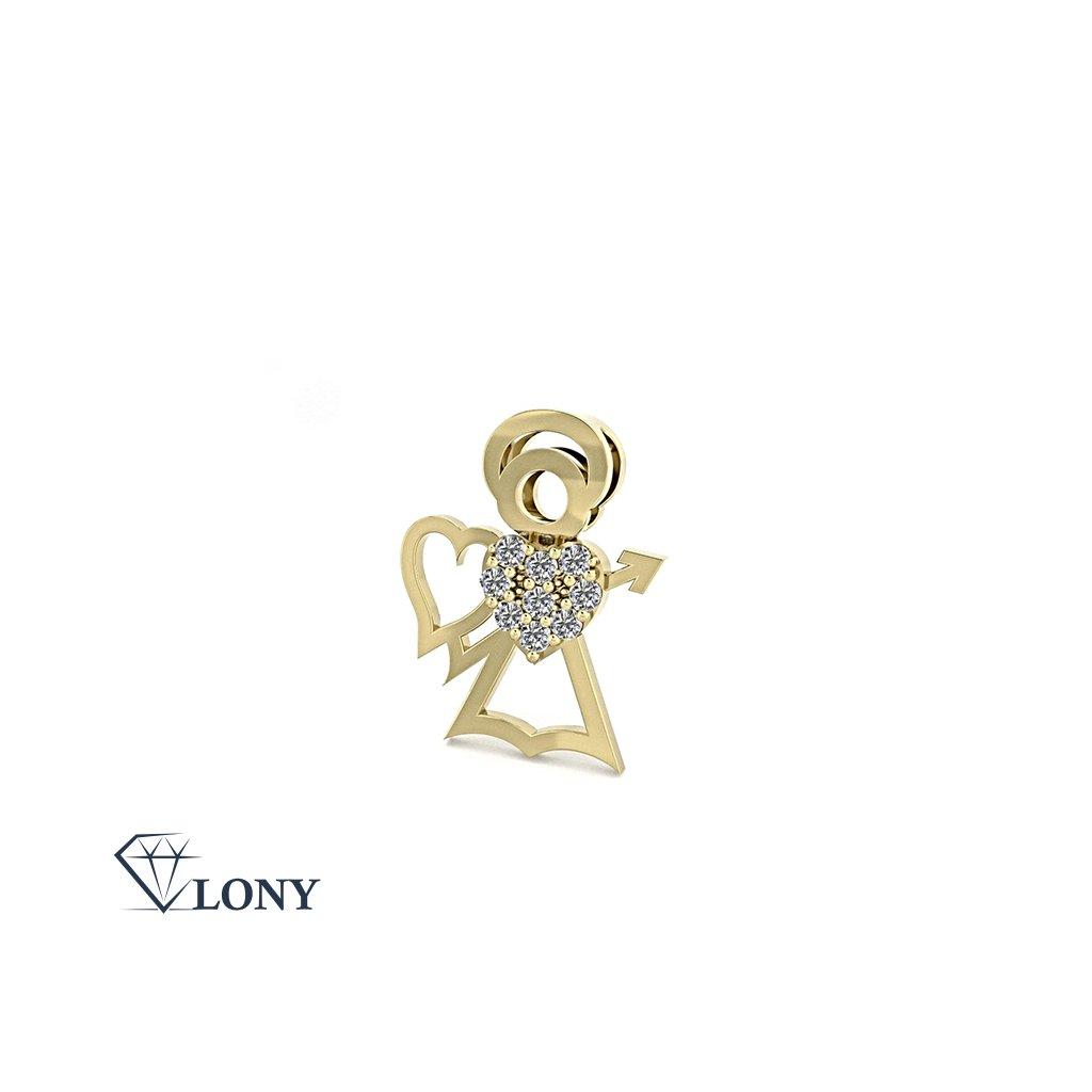 Přívěsek Angel, žluté zlato se zirkony