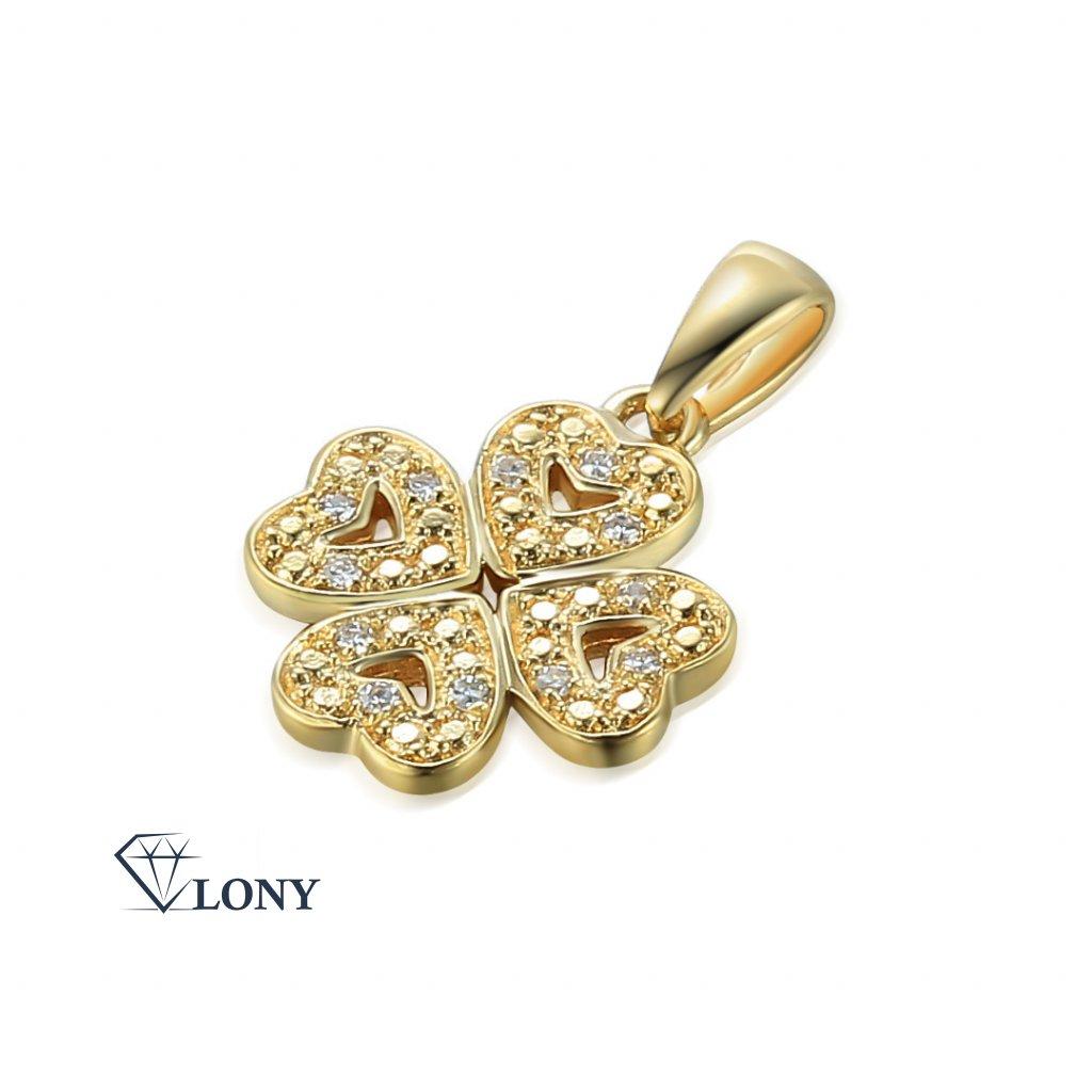 Elegantní přívěsek Chiara, žluté zlato s diamanty