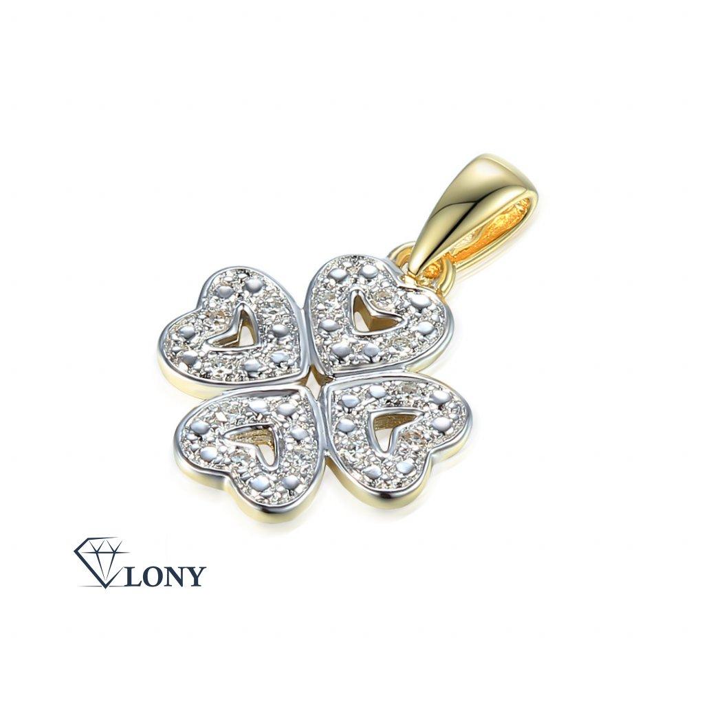 Elegantní přívěsek Chiara, kombinované zlato s diamanty