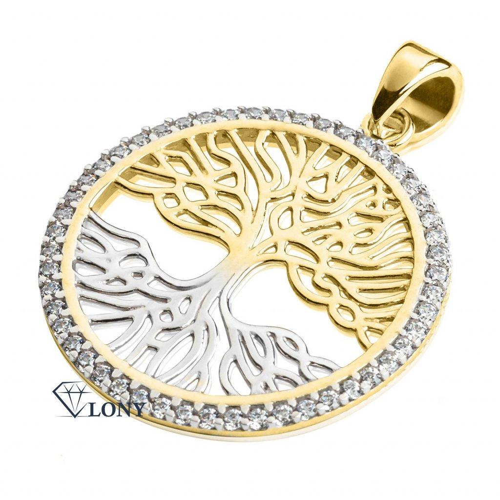 Přívěsek Tree of Life, kombinované zlato a zirkony
