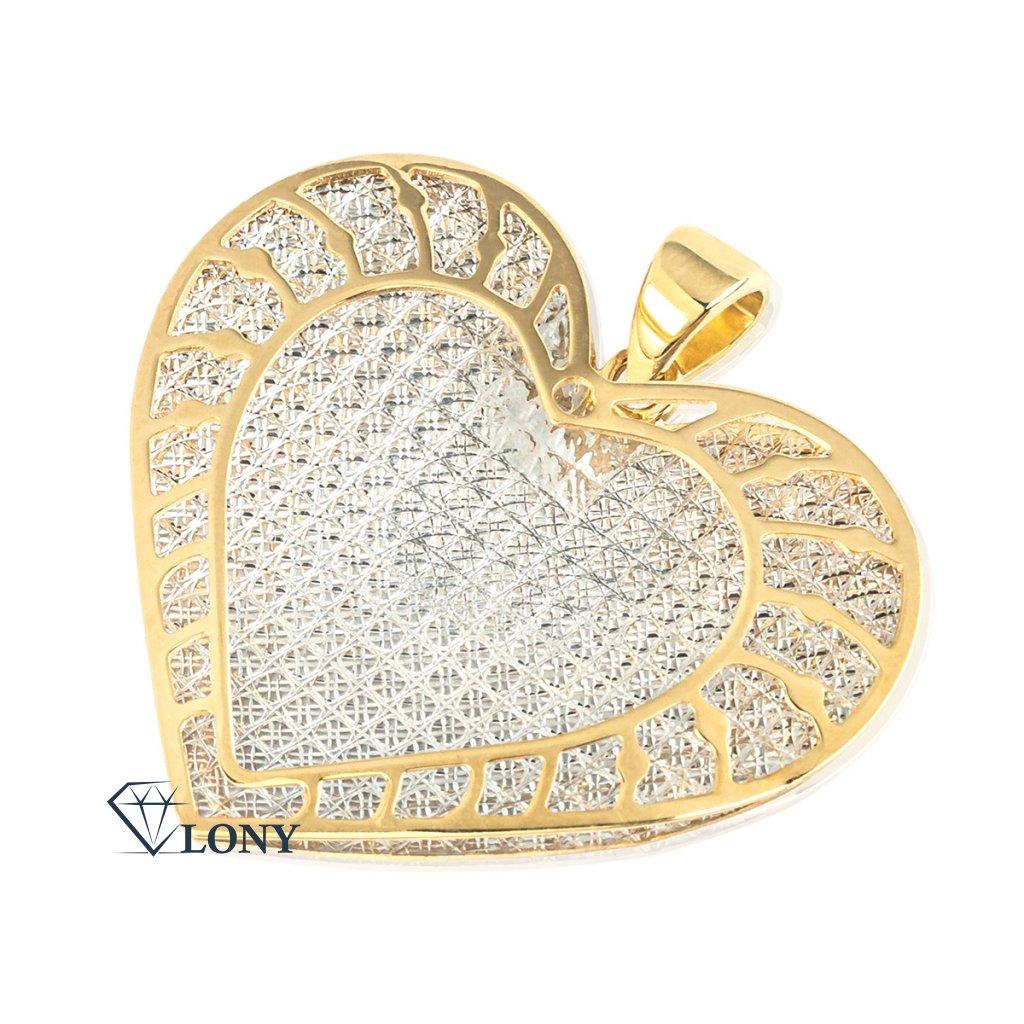 Zajímavý přívěsek Srdce II ze žlutého a bílého zlata