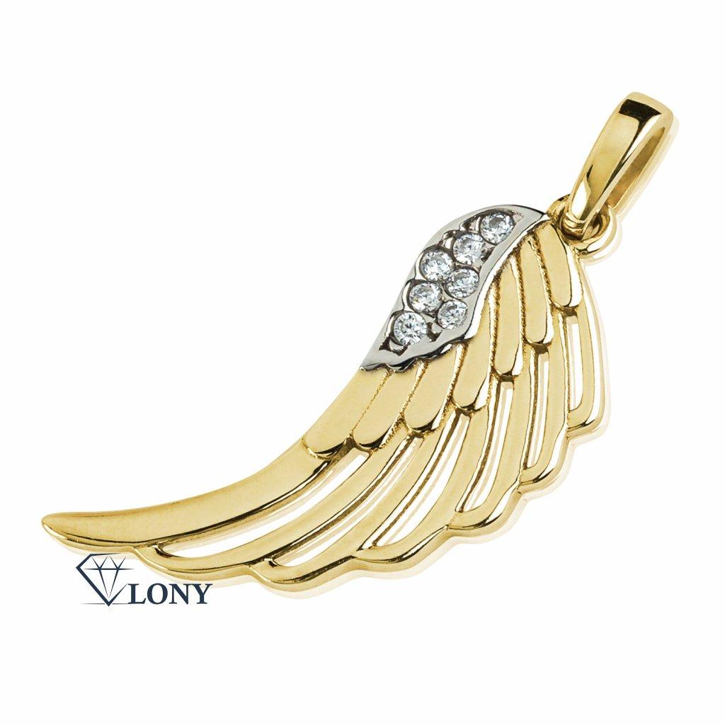 Přívěsek Wings, žluté zlato se zirkony