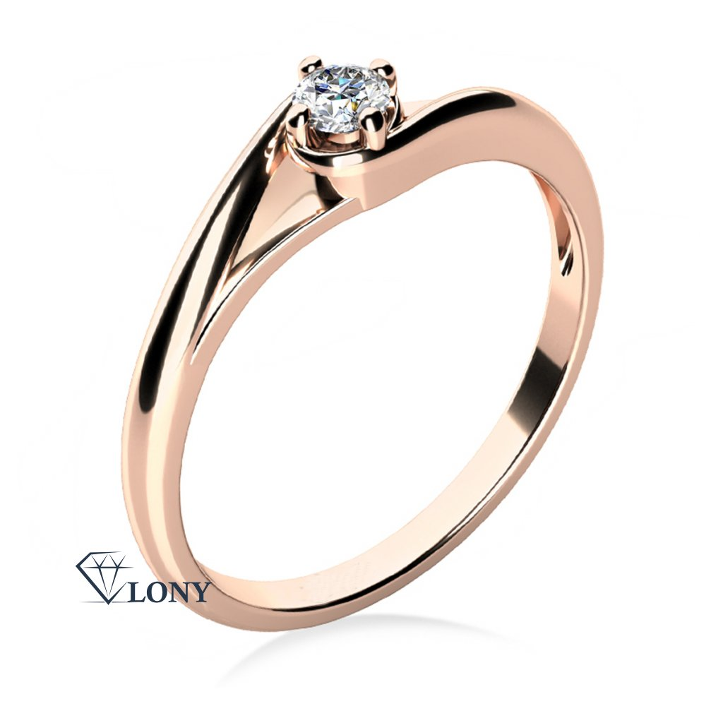 Zásnubní prstýnek Jane, růžové zlato a zirkon