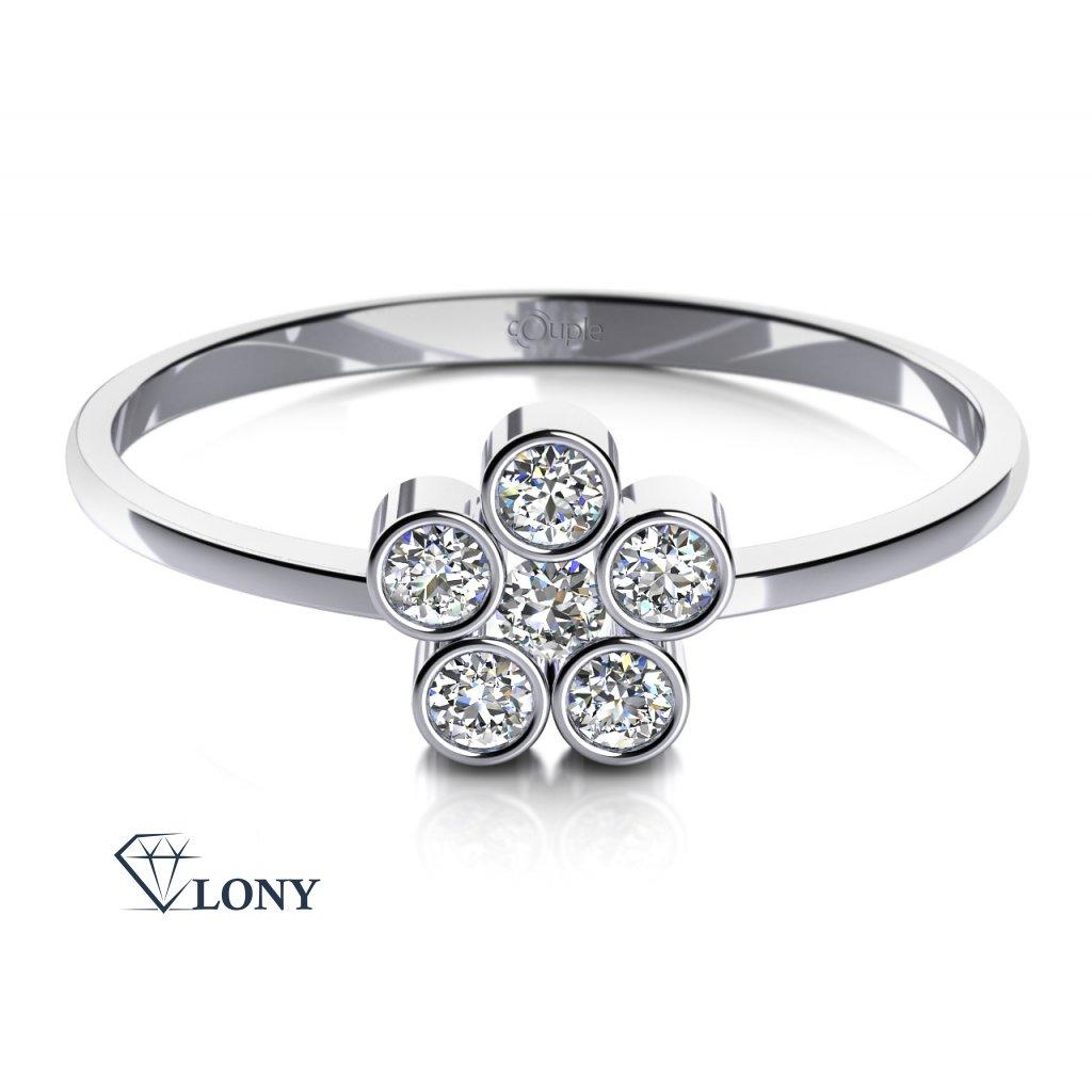 Romantický prsten Madeline z bílého zlata a zirkonů