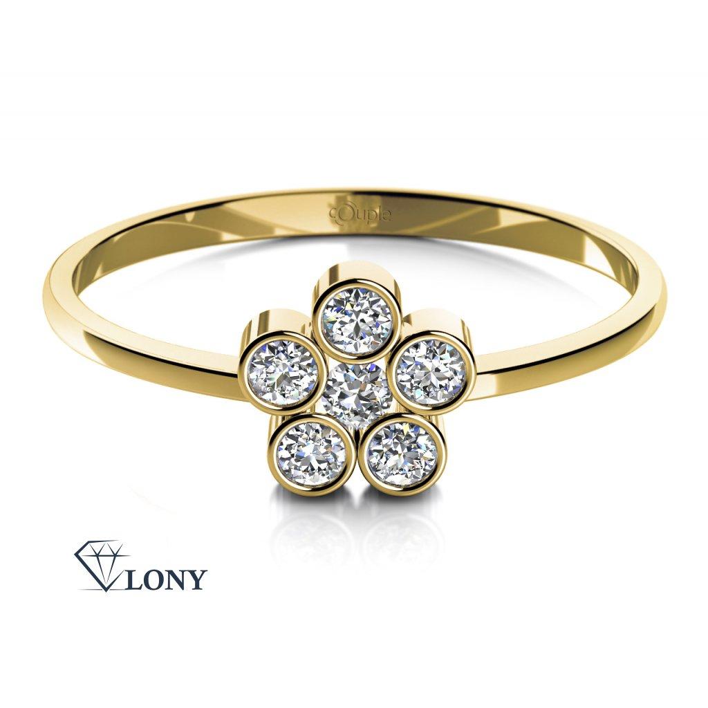 Romantický prsten Madeline ze žlutého zlata a zirkonů