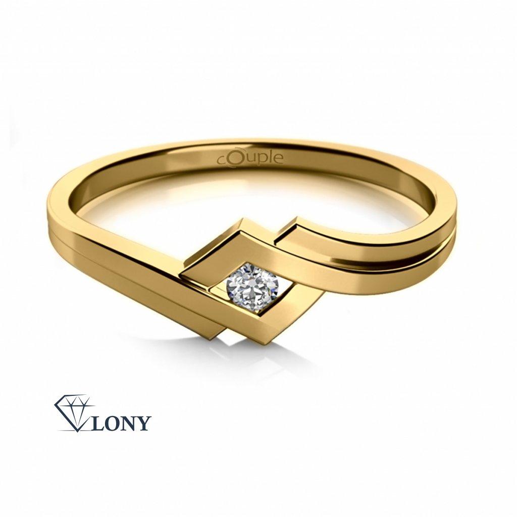 Originální prsten Kira ve žlutém zlatě se zirkonem