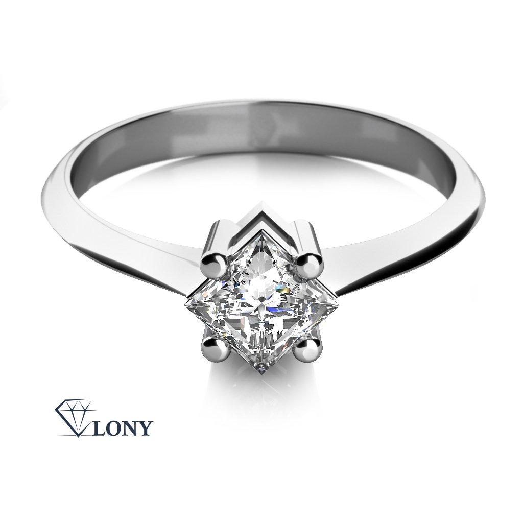 Zásnubní prsten Zarina, bílé zlato se zirkonem