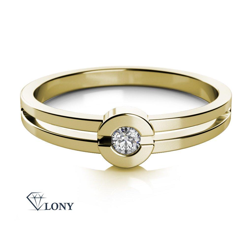 Zásnubní prsten Nina, žluté zlato se zirkonem