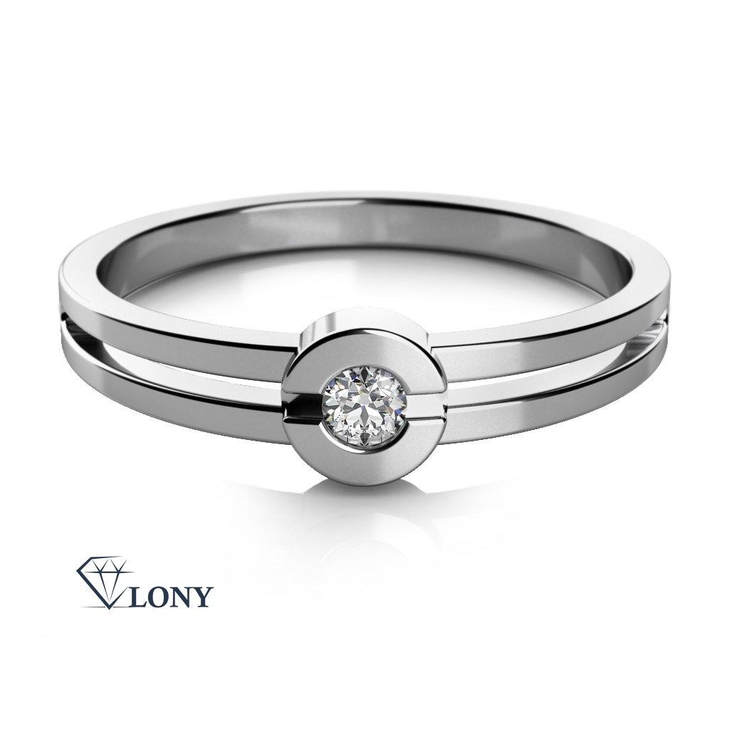 Zásnubní prsten Nina, bílé zlato se zirkonem