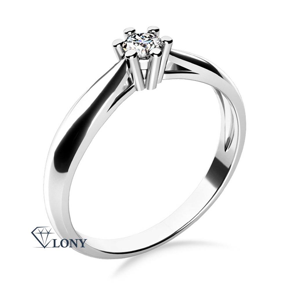 Nadčasový zásnubní prsten Nyla, bílé zlato se zirkonem