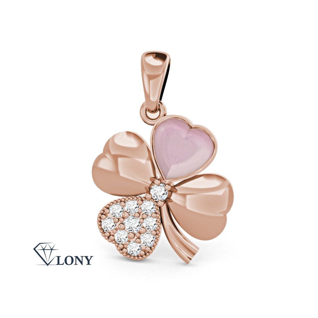Přívěsek Chance  růžové zlato, zirkony a perleť