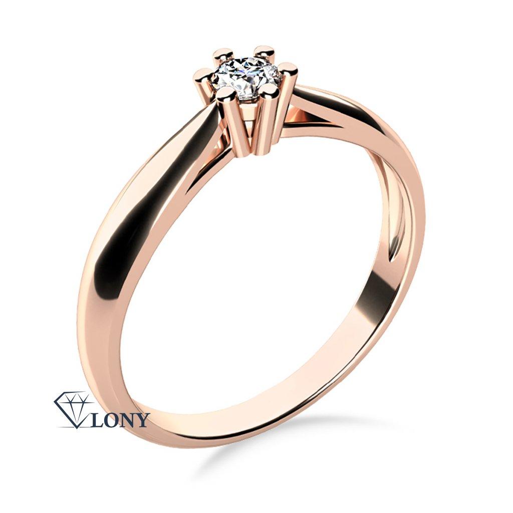 Nadčasový zásnubní prsten Nyla, růžové zlato se zirkonem