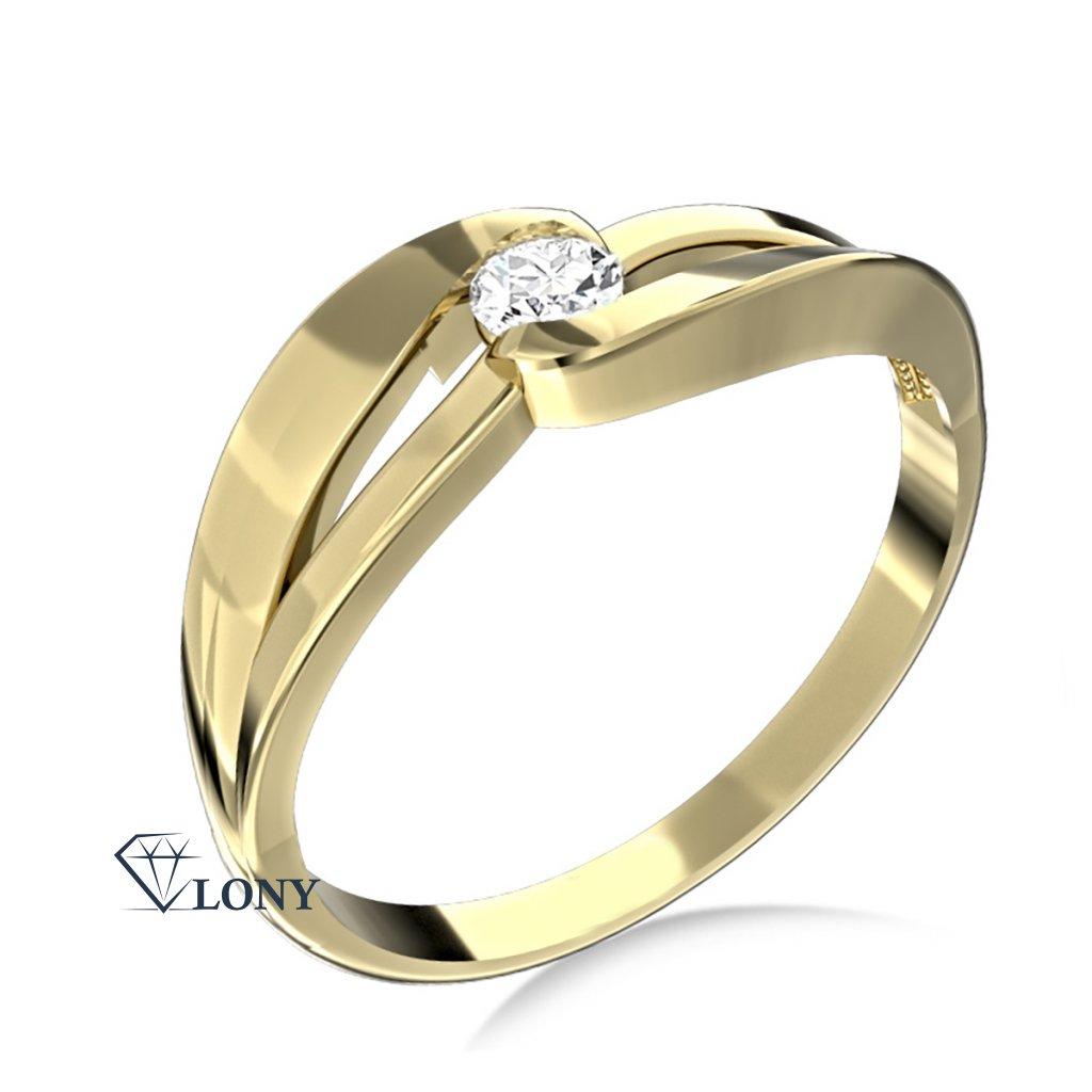 Podmanivý zásnubní prsten Rosa, žluté zlato se zirkonem