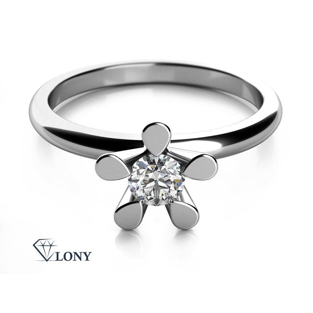Zásnubní prsten Flower II, bílé zlato se zirkonem