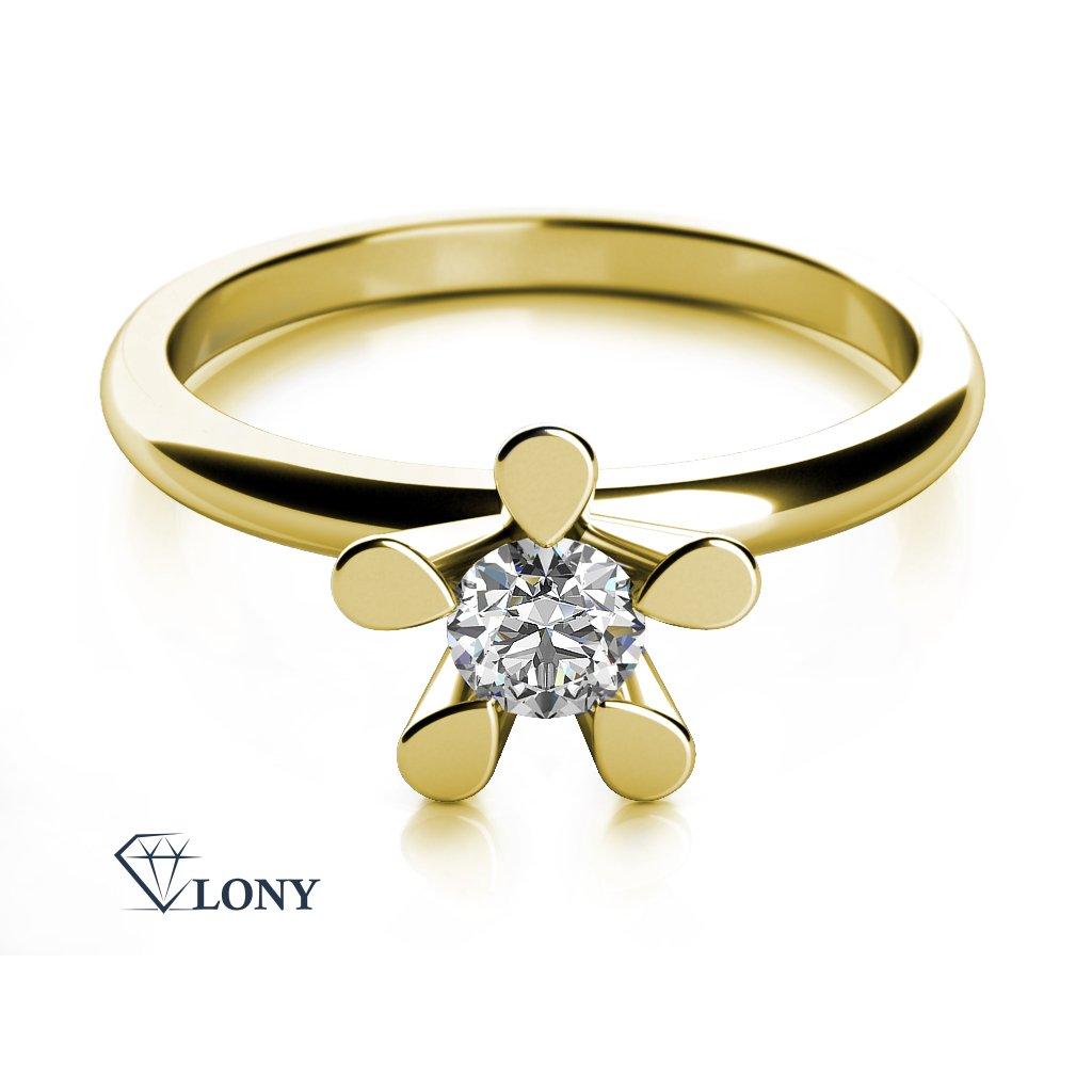 Zásnubní prsten Flower II, žluté zlato se zirkonem