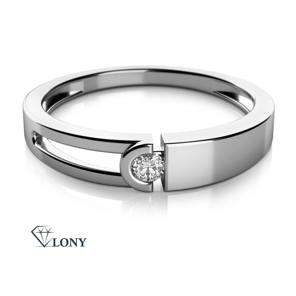 Zajímavý prsten Anes, bílé zlato a zirkon