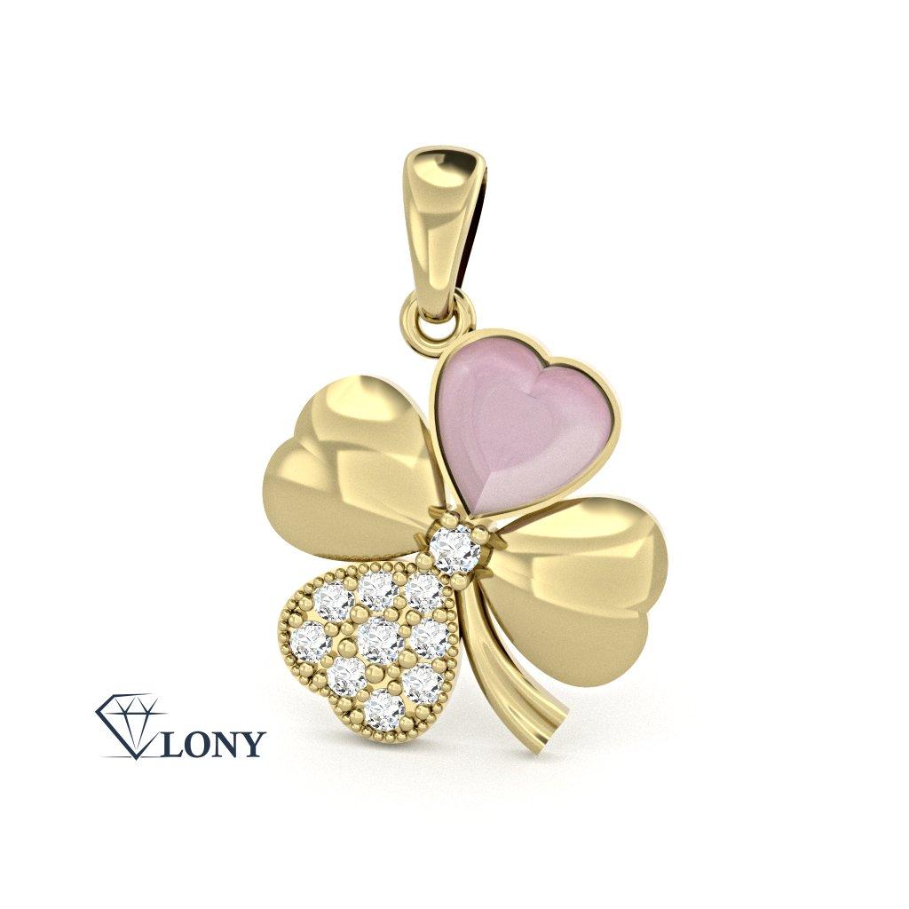 Přívěsek Chance – žluté zlato, zirkony a růžová perleť